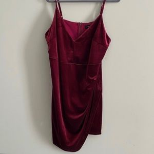 Forever 21 Plus Burgundy Velvet Mini Dress w/ Slit